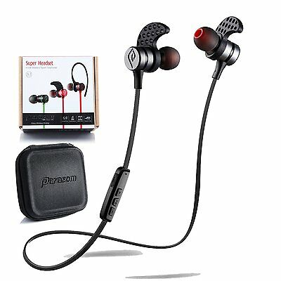 Noise Cancelling Bluetooth Headphones, Parasom Magnetic Wireless Earbuds - Black