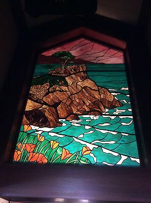 Vintage Iconic Chuck Franklin Massive Stained Glass Art Monterey Cypress Coast