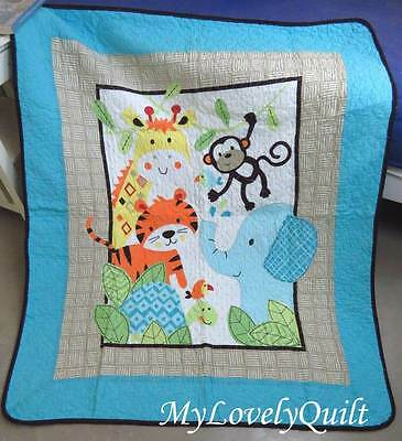 Colourful Fun Zoo Animal Patchwork Quilted Baby Cot Crib Quilt Throw -New