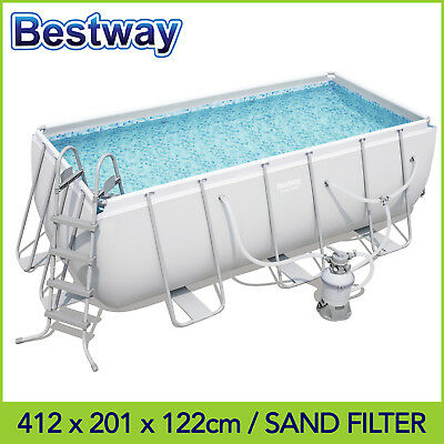 FREE SOLAR COVER! Bestway Above Ground Pool 412 x 201 x 122 cm w. Sand Filter