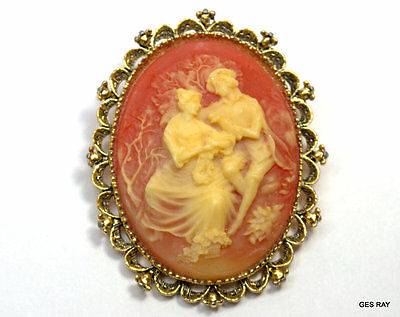 Gerrys Hand Carved Faux Shell Cameo Signed Victorian Scene Brooch Pendant