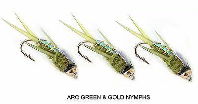 3 x GREEN and Gold Trout Fly Fishing Flies - size 12 Hooks