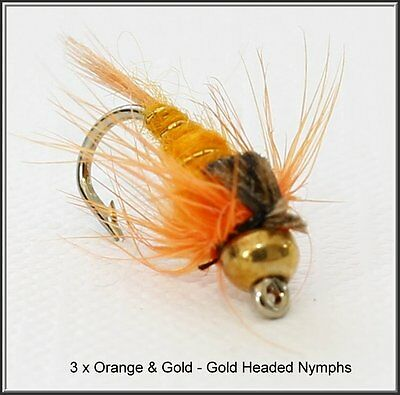 3 x Orange and Gold Trout Fly Fishing Flies - size 12 Hooks