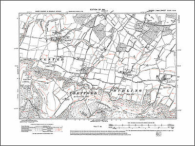 Elsted, Treyford, Didling, old map Sussex 1914: 34NW repro