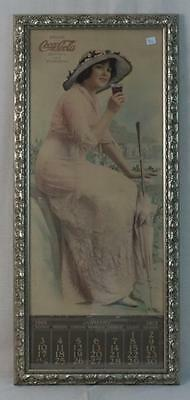 "Rare 1915 ""Elaine"" Coca Cola Calendar Poster Framed in Very Good Condition"