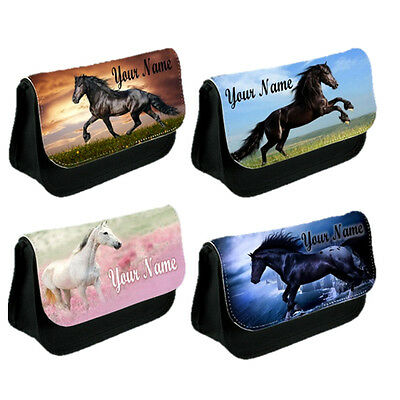 Personalised GIRLS LADIES KIDS Horse Pony Pencil Case Make Up Small Bag! Gift!