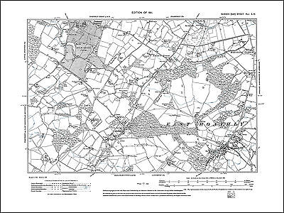 East Hoathly, Halland, Easons Green, old map Sussex 1911: 41SW repro