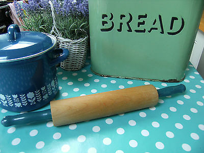 Vintage Wooden Long Handled Rolling Pin Painted Blue Handles - Retro Kitchenalia