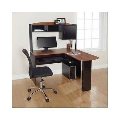 Corner Computer Desk Hutch L Shaped Workstation Table Wood Home Office Furniture