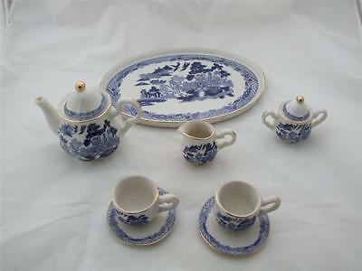 Ceramic Miniature Tea Set on a Tray Willow Pattern Design.
