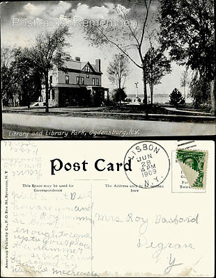 c1909 LIBRARY AND LIBRARY PARK VIEW SCENE STREET OGDENSBURG, NY POSTCARD