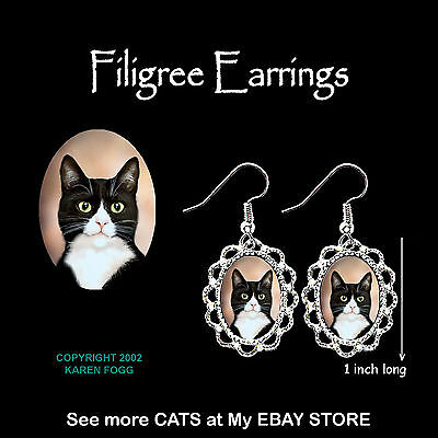 TUXEDO SHORTHAIR CAT Black and White - SILVER FILIGREE EARRINGS Jewelry