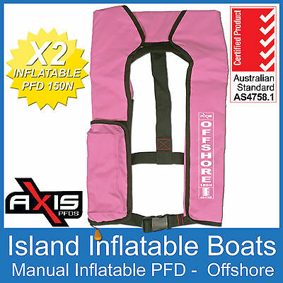2 x AXIS OFFSHORE INFLATABLE  LIFEJACKET PINK 150N PFD1 Manual Jacket FREE POST