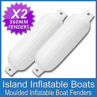 2 x 560mm INFLATABLE RIBBED BOAT FENDERS BUFFERS  MOORING GUARDS WHITE FREE POST