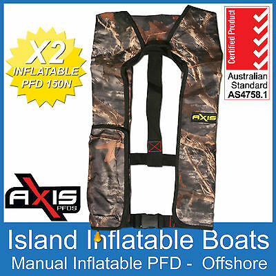 2 x AXIS OFFSHORE INFLATABLE  LIFEJACKET ✱ CAMO ✱ 150N PFD1 Manual Life Jacket