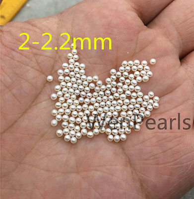 AAA 2-2.5mm White Round seed freshwater pearls,no hole,Half hole,20 beads