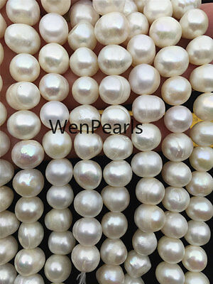 AA 11-12mm Cheap White Potato Genuine Freshwater Pearls Loose Beads,large hole