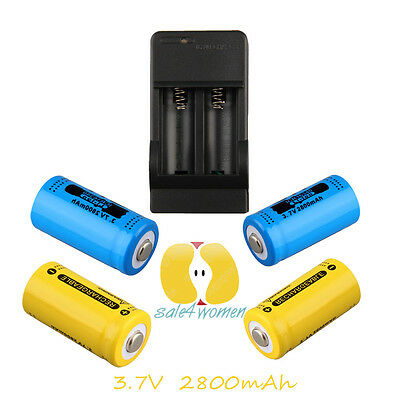 4pcs 16340 3.7V 2800mAh Rechargeable Li-ion Battery+Charger New Y#