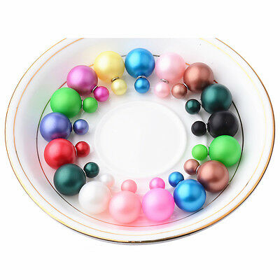 10 Pairs Pearls Candy Color Big Beads Double Sided Pearl Earrings Ear Women Stud
