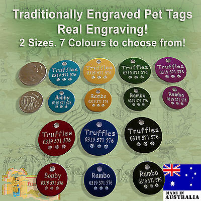 Traditionally Engraved Pet ID Name Tags Deep Engraving, Large Dog Tag, Small Dog