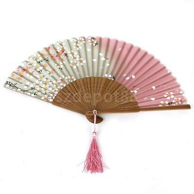 Vintage Japanese Silk Sakura Flower Folding Hand Held Fan Wedding Party Prom