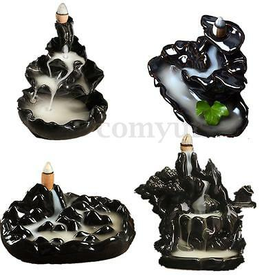 8 Types Ceramic Glaze Incense Burner Tibet Censer Holder Backflow Home Decor UK