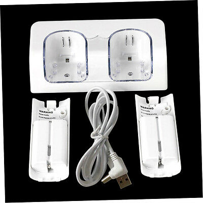 Dual Charger Station 2x 2800mAh Rechargeable Battery for Wii Remote Control   AO