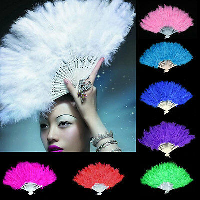 New Feather Fans Folding Women Dance Hand Fan Halloween Fancy Party Supplies