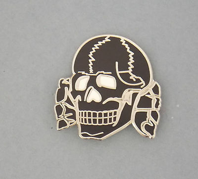 Black Skull Lapel Badge Enamel And Silver Plating 25Mm High With A Single Pin