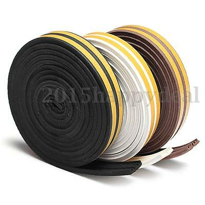 5M E-Type Rubber Foam Draught Self Adhesive Window Door Excluder Seal Strip Tape