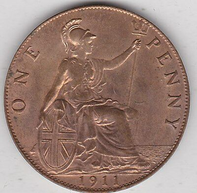 1911 George V Penny In Near Mint Condition