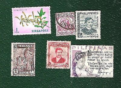 Postage stamps - Assorted set Malaysia,Philipines, Singapore - 6 stamps