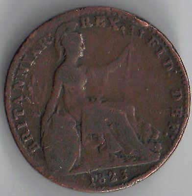 GB-UK 1823 Copper 1/4d Farthing George IV Milled (1816-1837) Very Fine