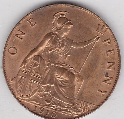 1910 Edward Vii Penny In Near Mint Condition
