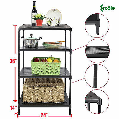 4 Tier Heavy Duty Wire Shelving Rack Unit Steel Shelf Storage Adjustable Black