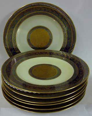 Hutschenreuther PLATINUM-GOLD ENCRUSTED Dinner Service Plates SET OF SEVEN