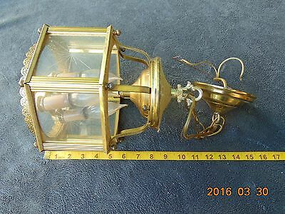 Vintage Ornate Heavy Brass Hanging Ceiling Lamp Chandelier 3 Light Hexagon Glass