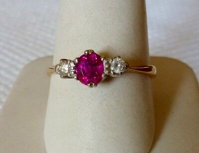 Bague Or Jaune 18Ct & Platine Ornee Rubis & Diamants