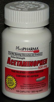 PlusPharma Acetaminophen 500mg 100ct Caplets -FREE WORLDWIDE SHIPPING-
