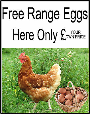 Free Range Chicken Eggs For Sale Sign - Add your own Price, Eggs Sold Here Signs