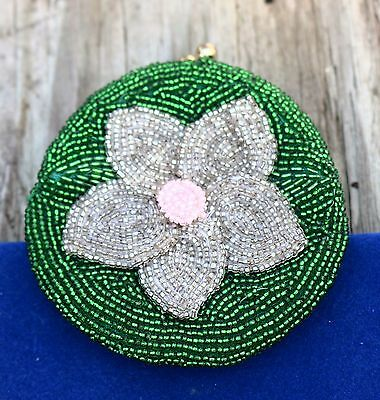Beaded flower green gray pink  coin PURSE