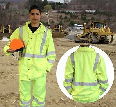 HI VIS ANSI/ISEA Class 3 Neon Greens/Yellow Safety Rain Gear Set -Jacket & Pants