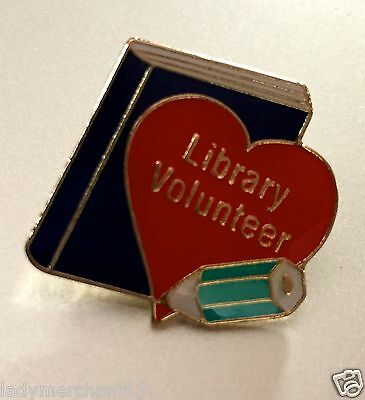 """Library Volunteer"" Heart/Book Enamel Lapel Pins/Wholesale Lot of 17/ALL NEW!"