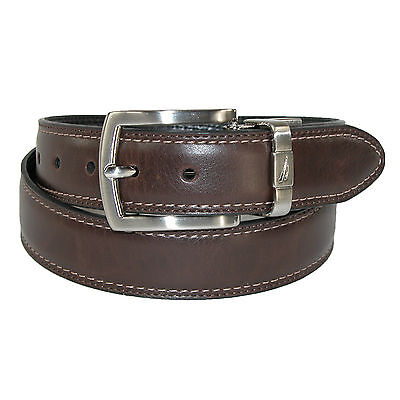 New Nautica Boys' Leather Reversible Padded Belt with Feather Edge