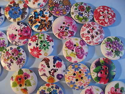 20 Piece Wooden Button/Buttons GREAT FLOWERS MIX 1,50 cm