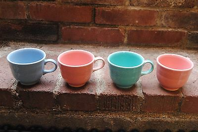 Fiesta coffee cups mixed lot blue green and pink misc lot of 4