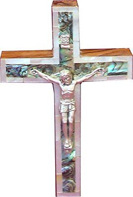 "5"" Mother of Pearl Israel Handcarved Olive Wood Jerusalem Jesus Cross Crucifix"