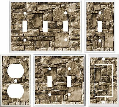 Stacked Stone Image Cabin Decor Brown Light Switch Cover Plate Or Outlet V898