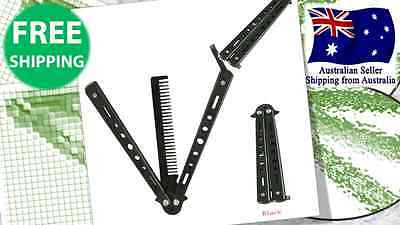 NEW Practice Training Butterfly COMB Knife Folding Trainer Balisong Blade Black