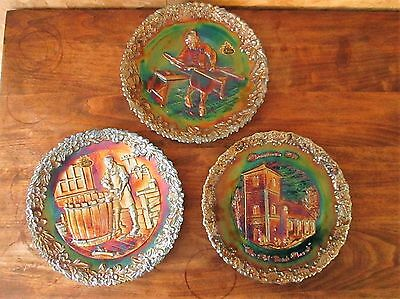 Lot of 3 Fenton Collector Plates Carnival Glass Christmas Cooper Craftsman Purpl